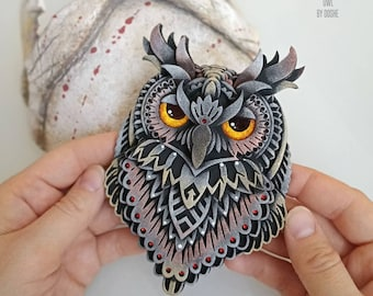 Amazing Owl Totem / Night owl / Animals totem / Horned Owl / Owl gifts / The Owl / Owl decor / Totems / Talisman energy / Handmade gift idea