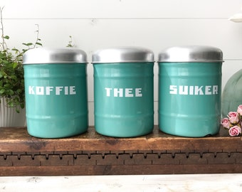 Vintage Dutch Canisters, Turquoise Enamel, Coffee Tea Sugar, 40's Dutch Kitchenware, Country Kitchen Design .