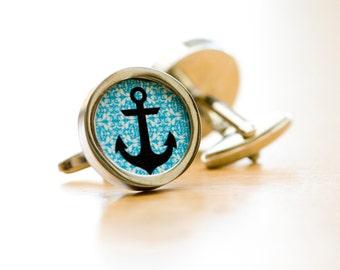 Anchor Cufflinks - Unisex cufflinks, Husband, Weddings, novelty cufflinks,  silhouette fathers day gift for him