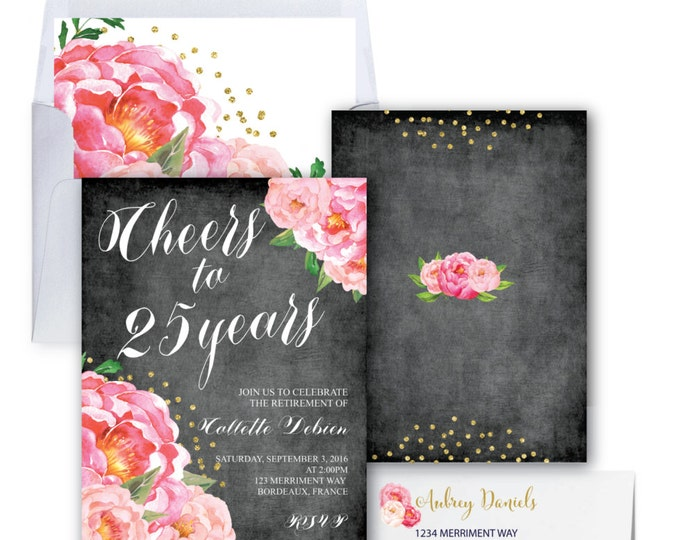 Retirement Party Invitation // Chalkboard // Peonies // Peony// Cheers // Pink // Gold Glitter // BORDEAUX COLLECTION
