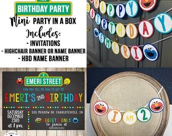 Rainbow Sesame Street Birthday Party, Sesame Street Birthday Supplies, Sesame Street Invitations, Sesame Street High Chair Banner,