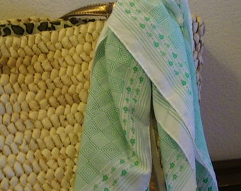 Vintage Silk Scarf, Green Concentric Squares with Green Flowers