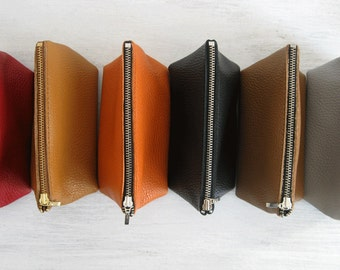 LEATHER POUCH, Pouch Leather, Leather Clutch, Clutch Purse, Leather Toiletry Bag, Leather Bag, Leather Makeup Pouch, Leather Cosmetic Bag