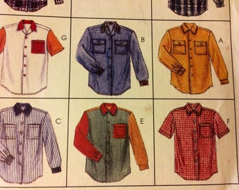 Shirts Sewing Pattern McCall's 7834 Men's and Misses' Shirts  Chest 42-44 inches  Uncut Complete
