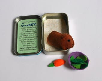 Felt Guinea Pig Travel Wee Altoid Tin Toy