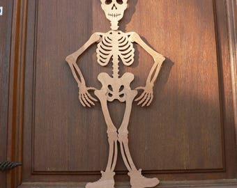 Hinged wooden halloween skeleton