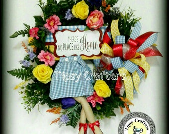 Dorothy wreath - Wizard of Oz Wreath - There's no Place like Home - Ruby Shoes Wreath - Mini Dorothy