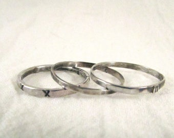 Skinny Rustic Stacking Ring Trio