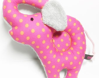 Elephant Baby rattle sensory toy out of  pink with orange dots Cotton and Terry Fabric