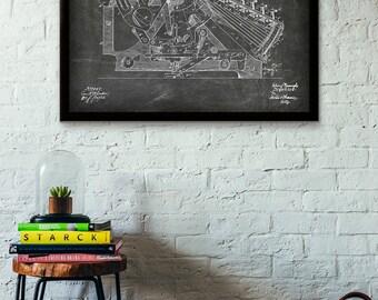 Calculating Machine Patent Print - 1888 - Poster Wall art Illustration Print Art Home Decor Vintage Patent - SKU 0321