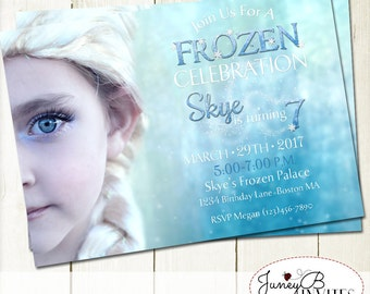 Frozen Birthday Invitation, Winter Princess Party Invite, Girl Birthday Invitation