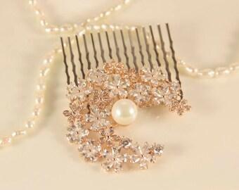 Rose Gold Bridal Hair Comb Goddess Headpiece Cubic Zirconia Hair Comb Flower Bridal Hair Jewelry Wedding Bridal Hair Piece Christmas Gift