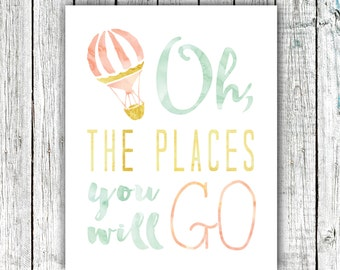 Nursery Art Printable, Oh the Places you will Go, hot air balloon, Mint Gold and Coral, Digital Download #520