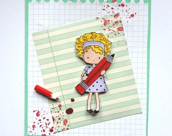 "card ""happy holidays"". Schoolgirl, handmade"
