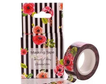 Rose Stripe, Striped Floral, Pink Peony Washi Tape