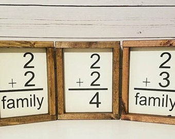 Family number sign-customized wall number sign-2+2=4-2+3=5-2+3=family-wall art-framed wooden sign-home decor-gallery wall-flash card sign