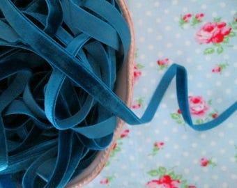 Teal Velvet Ribbon - 3/8 inch - 3 Yards