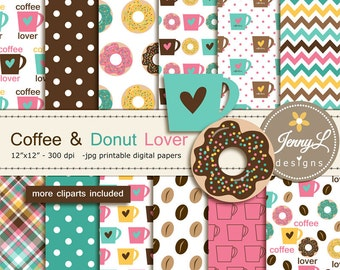 Coffee Donut Digital papers Clipart, Coffee Mugs, Doughnuts  for Birthday, Scrapbooking Paper Party Theme, Planner