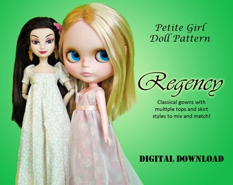 Petite Girl Regency Dress doll clothes PDF Sewing pattern for Neo Blythe, Licca, Skipper, Pure Neemo, Princess, Descendants Disney Store