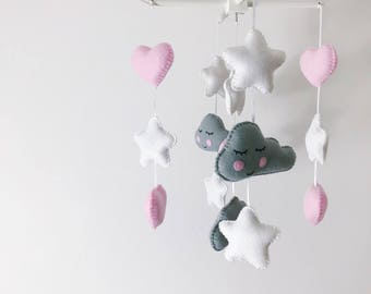 Kawaii grey cloud baby mobile with pink hearts and white stars