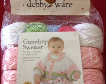Gumdrop Sweater Kit by Debbyware Size: 3 months to 3 years
