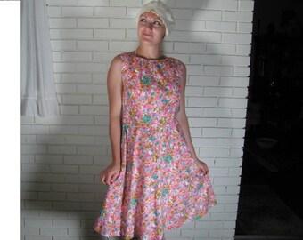 Vtg Neon Floral Cotton dress size M