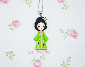 GEISHA green Kimono DOLL FIMO, polymer clay, handmade necklace, handcraft
