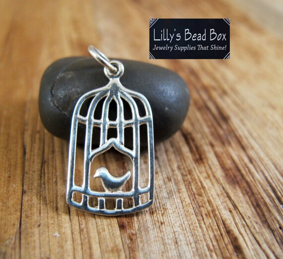 Silver Birdcage Charm, Sterling Bird Charm, Sterling Silver Pendant, Song Bird, Jewelry Supplies, Charm Bracelet (Ch 753)