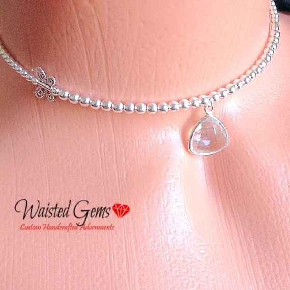 Sterling Silver Butterfly Choker, Mothers Day Gift, silver waist beads, Gifts for Her, Beaded Necklace, Silver necklace  zmw9800