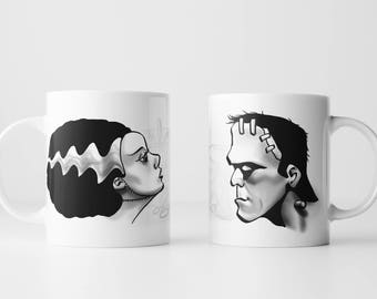 Frankenstein and Bride: His and Her Mug Set (2 Mugs) - Halloween Frankenstein's Monster Universal Monsters Bride of Frankenstein Coffee Mug
