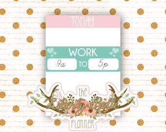 Rainbow Work Schedule Functional Planner Stickers for Erin Condren, Plum Paper, Recollections, and Happy Planner Planners (003)