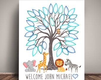Safari animals baby shower guest book tree leaf sign in safari animals baby shower guest book tree leaf sign in safari creatures guest book solutioingenieria Images