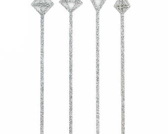 Silver Glitter Gemstone Drink Stirrers