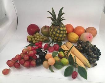 Vintage Artificial Fruit - Artificial Fruit - Vintage Fake Fruit - Fake Fruit - Pineapple - Apple - Bananna - Lemon - Raspberry - Peach