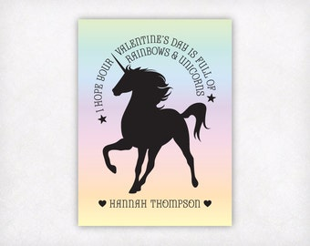 PRINTABLE Valentines Day Cards for Kids, Girls Rainbow Unicorn Valentine Card, Personalized Ombre School Classroom Valentine's Day Card