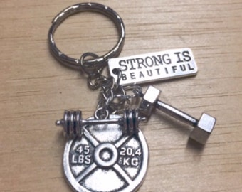 Strong is beautiful fitness jewelry dumbbell necklace weight charm fitness keychain gym jewellery fitness keyring weight lifting barbell
