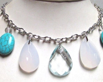 Vintage 60's Glass Lucite Drop Bead Bib Collar Chain Necklace