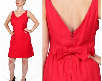 Vintage 1960s Fuschia Pink Party Dress with Deep V Bow Back by I. Magnin | Medium