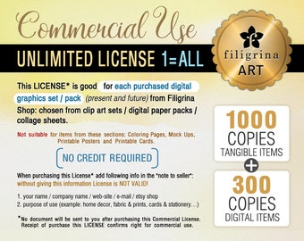 Unlimited Commercial LICENSE. Up to 1000/tangible + 300/digital copies sold. For ALL clip art sets / digital paper packs / collage sheets