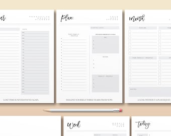 Perfect Plan Kit, Printable Planner Bundle, Modern Life Organizer, Daily Life Log, 2018 Planner Page, Calendar, Monthly, Weekly, Daily Note