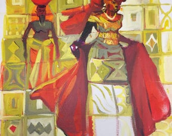 African Painting. Milk Maid 3. Acrylic Painting On Canvas Board.