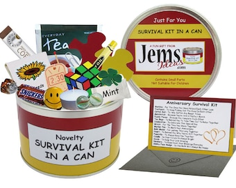 Anniversary Survival Kit In A Can. Fun Gift & Card For A Couple/Mum n Dad/Parents/Grandparents/Friends. OTHER COLOURS AVAILABLE.