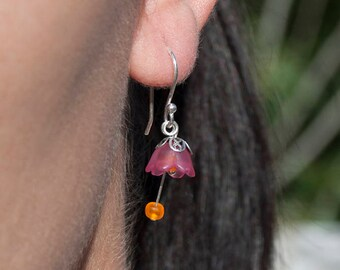 925 Silver bells earrings fuxia-colored