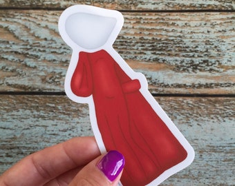 The Handmaid's Tale tiny Handmaid Car Decal, waterbottle sticker, resist