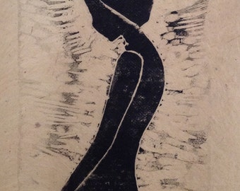 original limited edition linocut print of silhouette of a woman