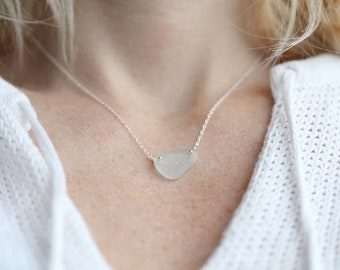 Sea Glass & Sterling Silver Necklace - White