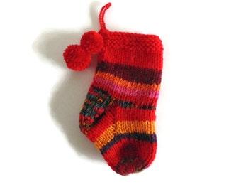 Red Orange Wool Christmas Hand Knit Stocking Stuffer
