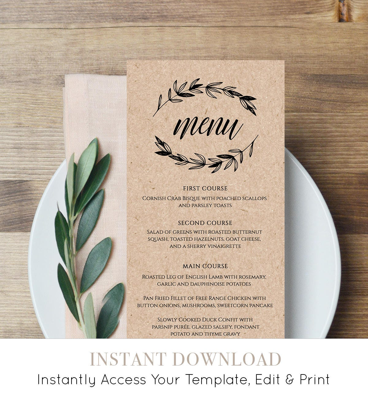 Rustic wedding menu template printable menu card for Free wedding menu templates