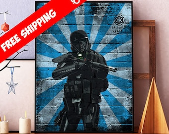 Star Wars Poster, Rogue One Death Trooper Print, Star Wars Art, Stormtrooper Print, Room Wall Art Decor, Contemporary Graffiti Art