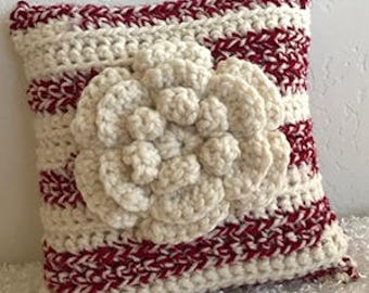 """Red Burgundy and Off White Cream Flower Floral Accent Throw Toss Wool Blend Crocheted Pillow 12"""" x 12"""""""